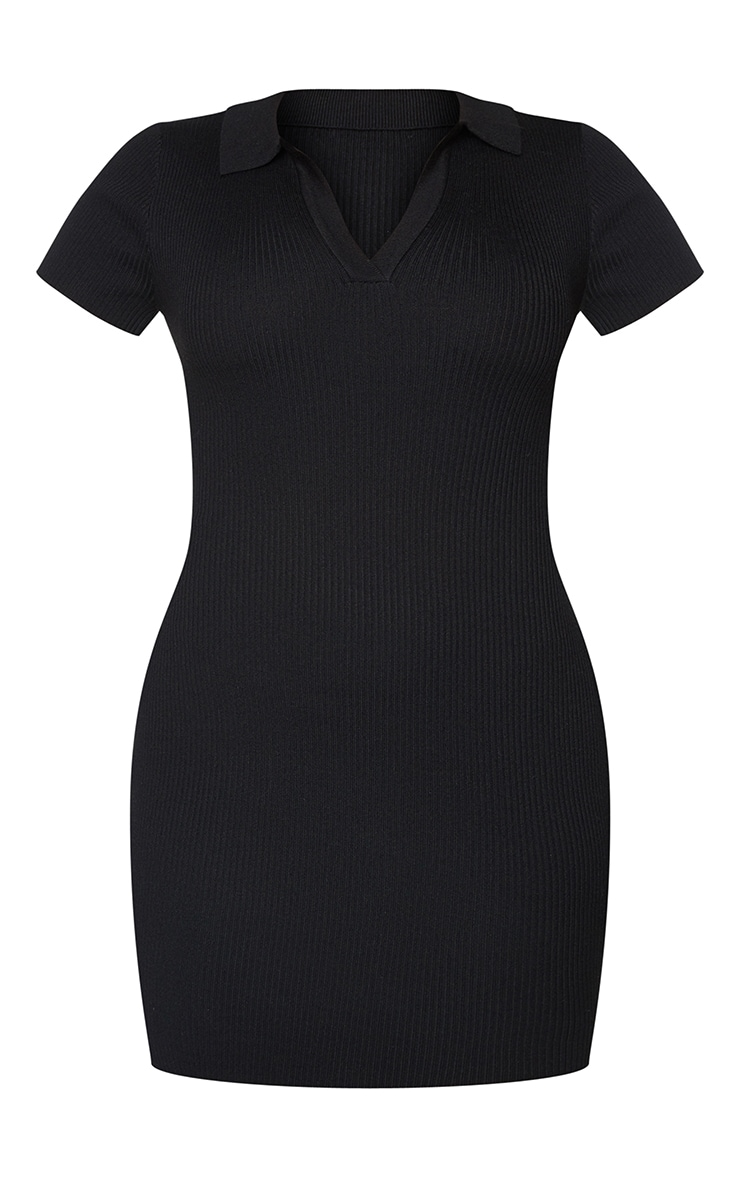 Black Ribbed Bodycon Mini Collared Knitted Dress 5
