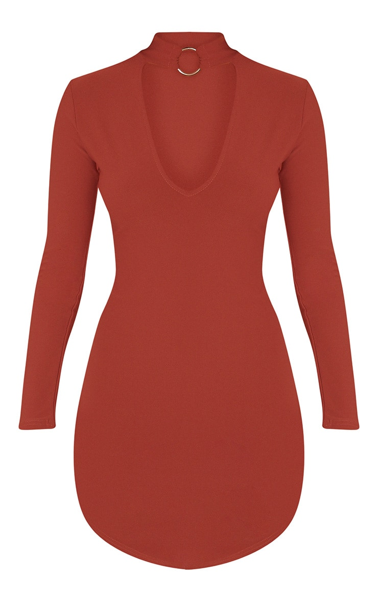 Malissa Tobacco Ring Detail Choker Neck Plunge Bodycon 3