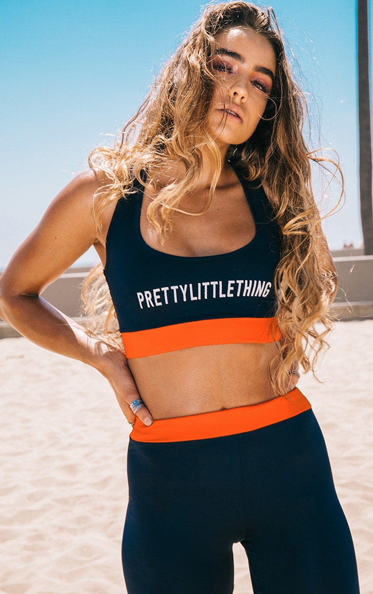 PRETTYLITTLETHING Navy Crop Top 1