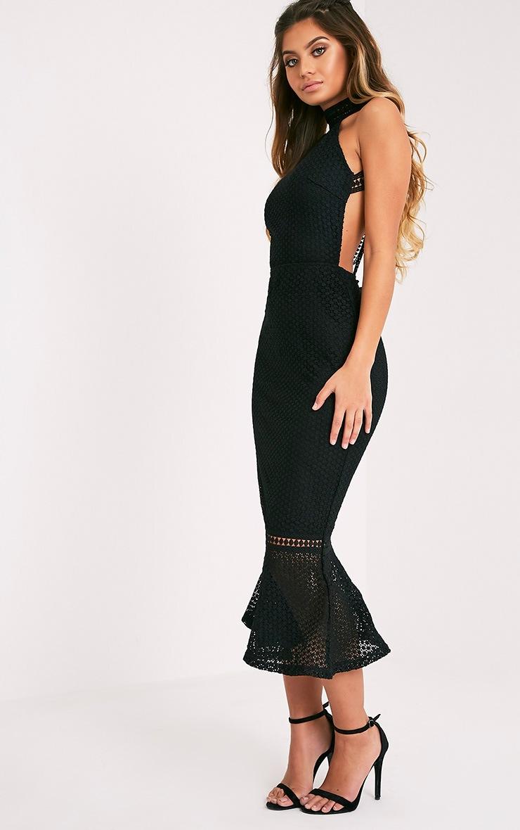 Kymmie Premium robe midi noire à col montant en dentelle 4
