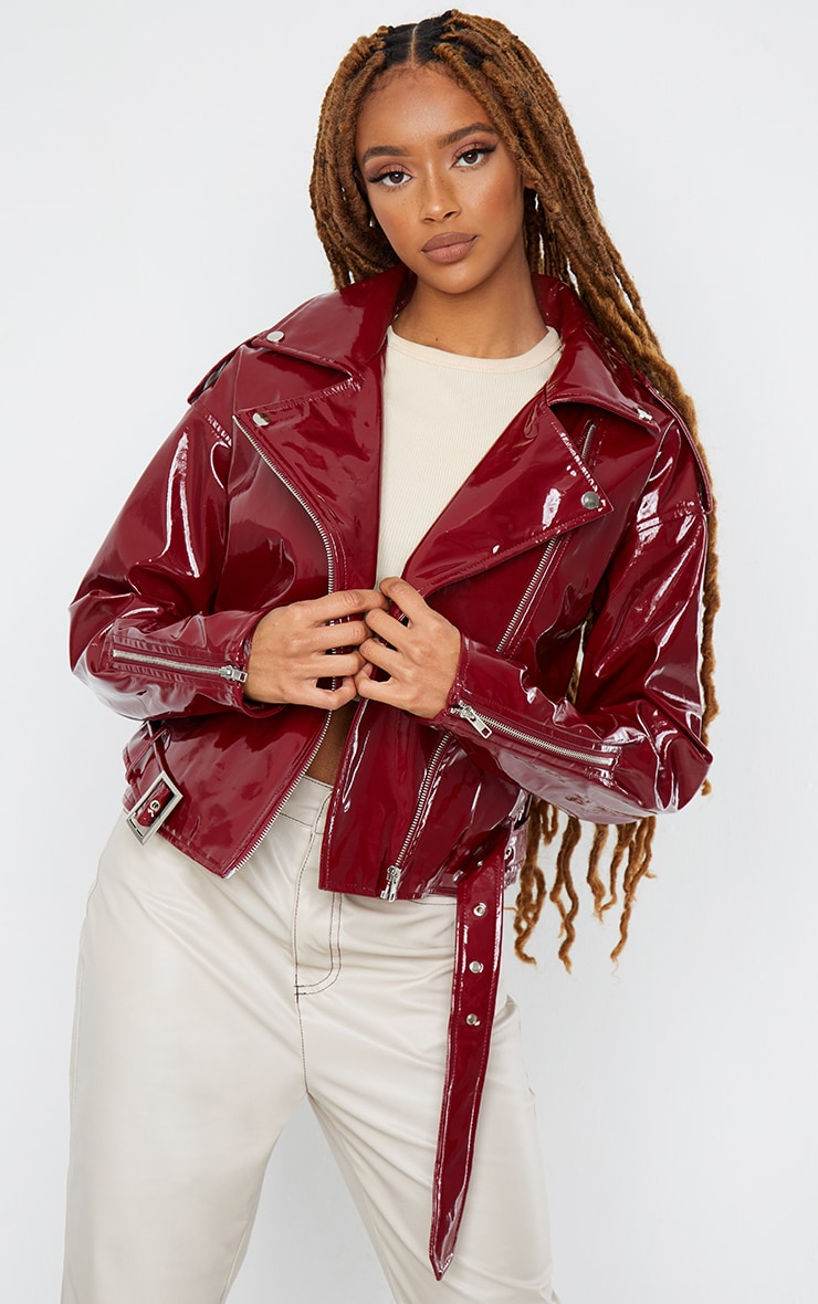 Burgundy Vinyl Zip Up Belted Jacket 1