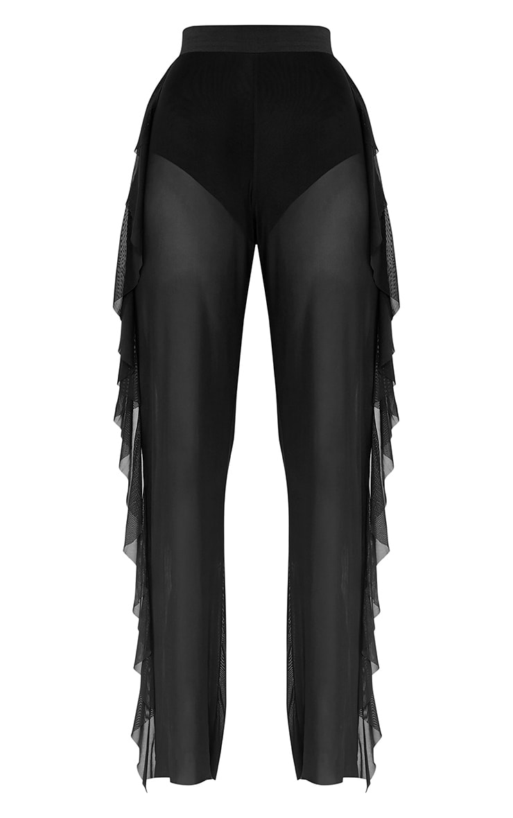 Nancia Black Sheer Side Frill Trousers 3