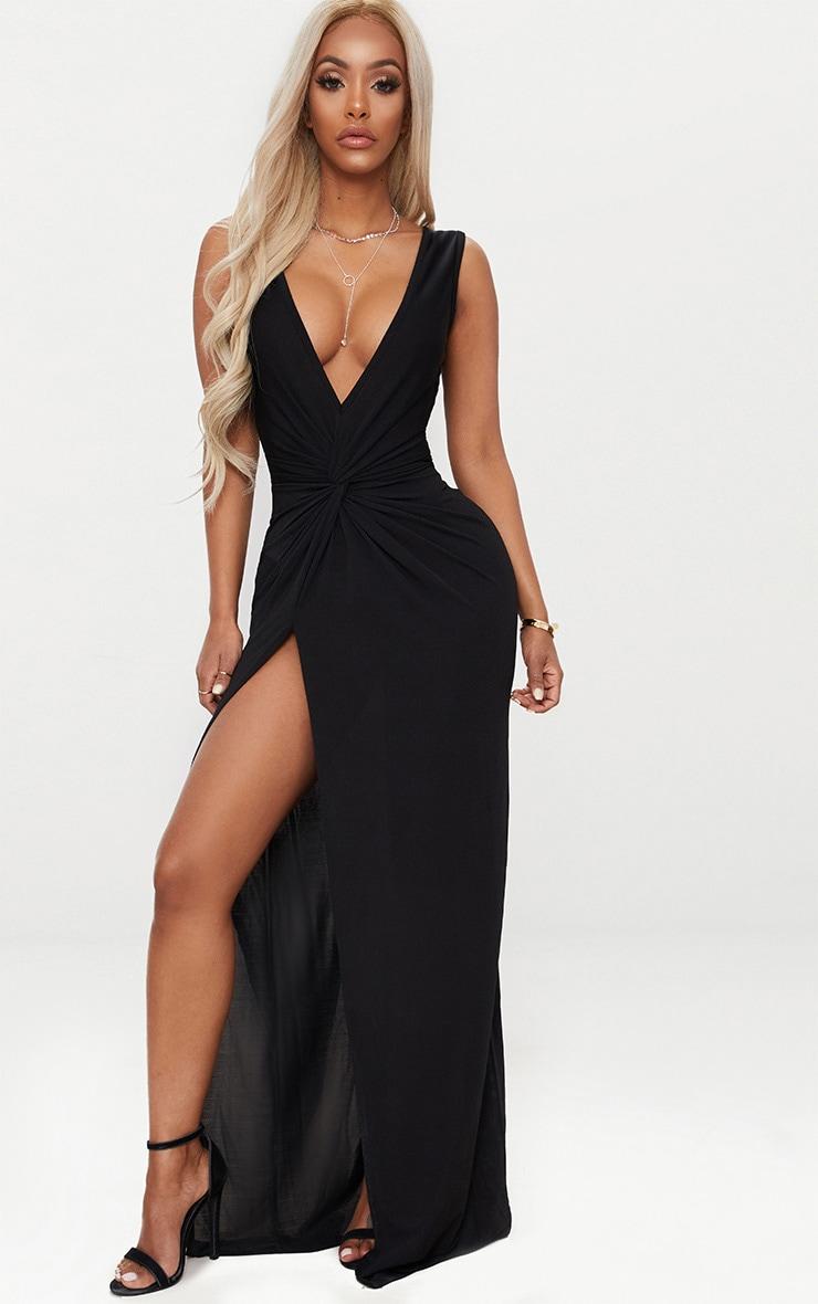 Shape Black Slinky Wrap Detail Maxi Dress 1