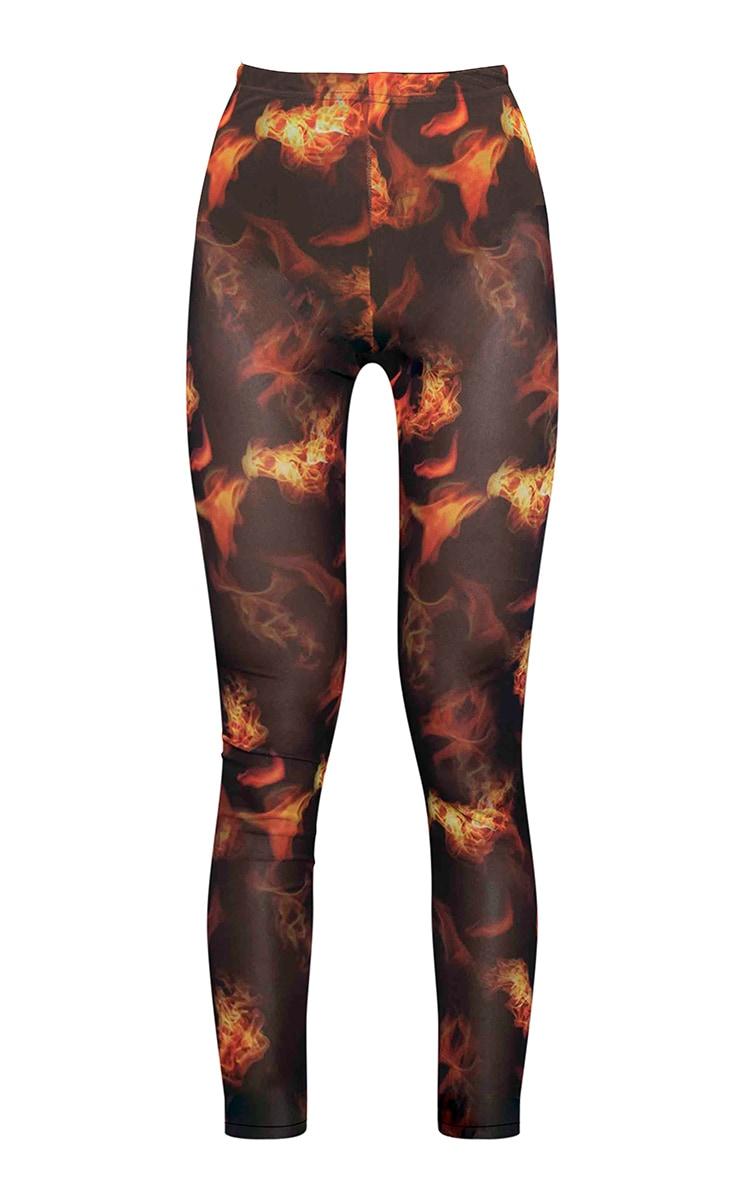 Black Flame Print Mesh Leggings 5