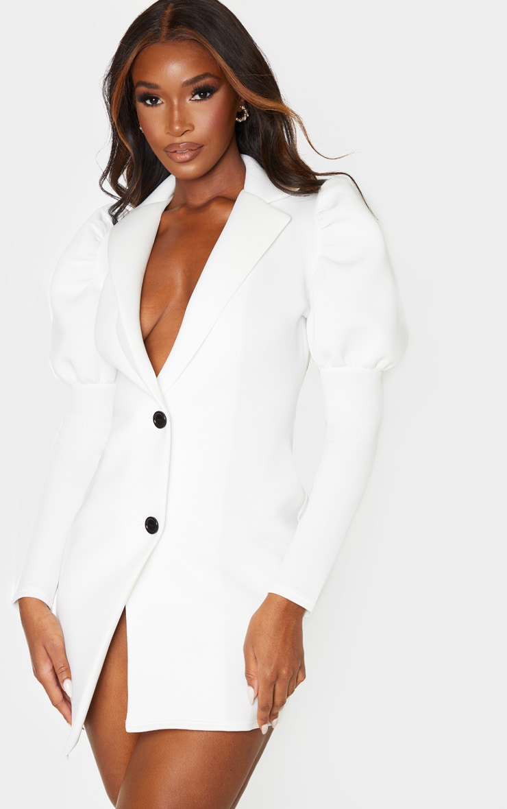 White Scuba Puff Sleeve Blazer Dress 1