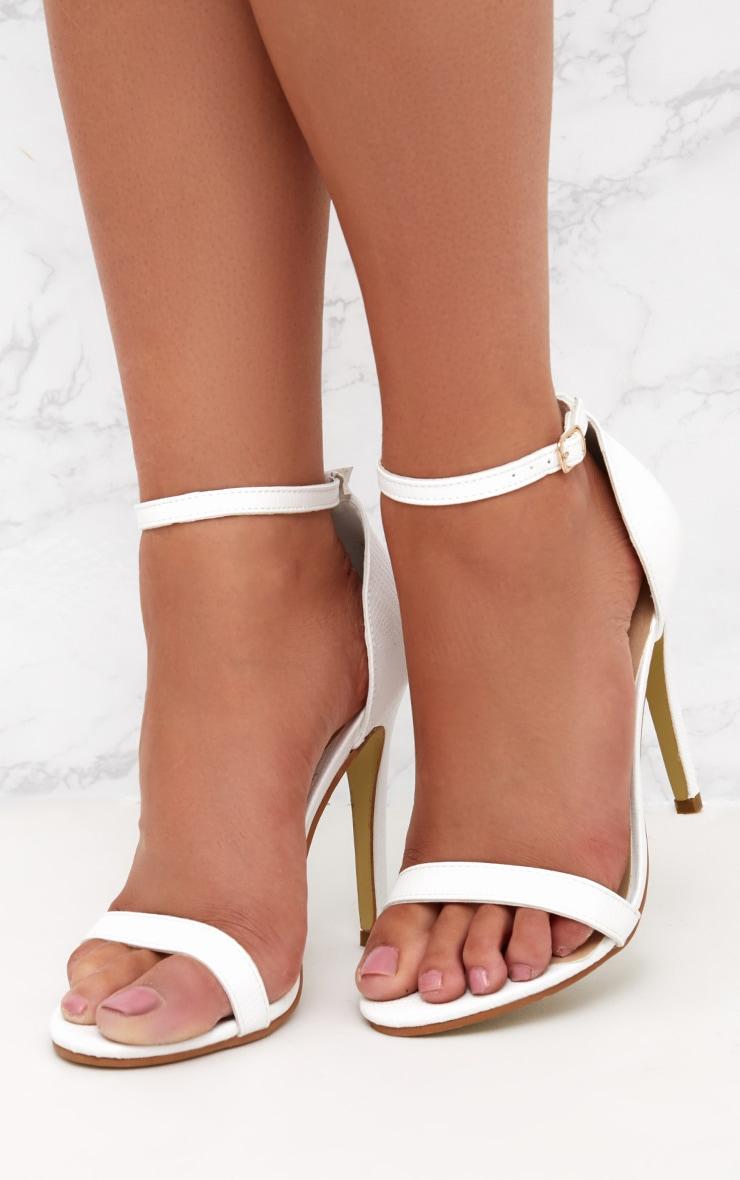 White Snake Print Strap Heeled Sandals  2