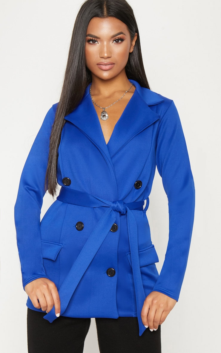 Colbalt Double Breasted Belted Blazer