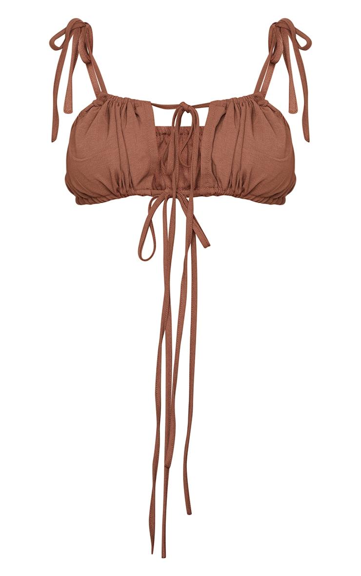 Chocolate Brown Woven Tie Strap Bralet 5