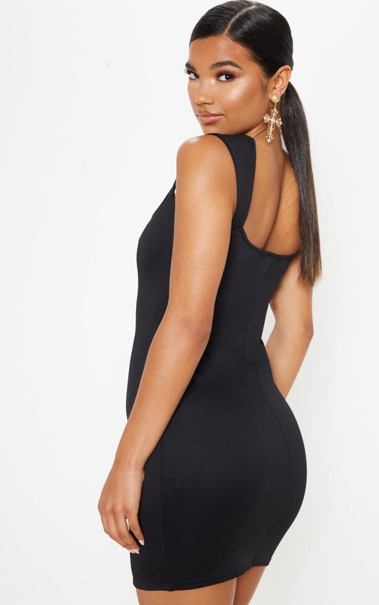 Black Structured Bodice Bodycon Dress 2