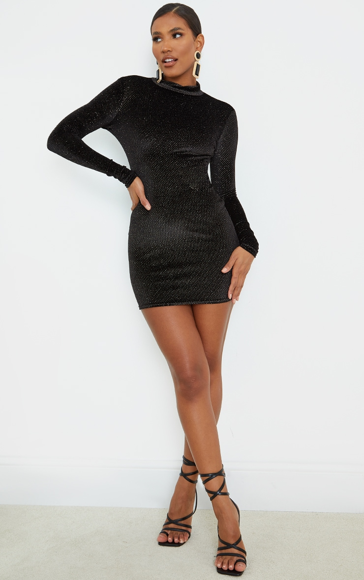 Black Velvet Glitter Neck Long Sleeve Thumb Hole Bodycon Dress 3