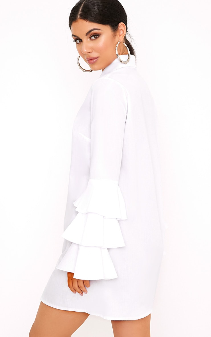 Lupeatarr Triple Frill White Sleeve Shirt Dress 2