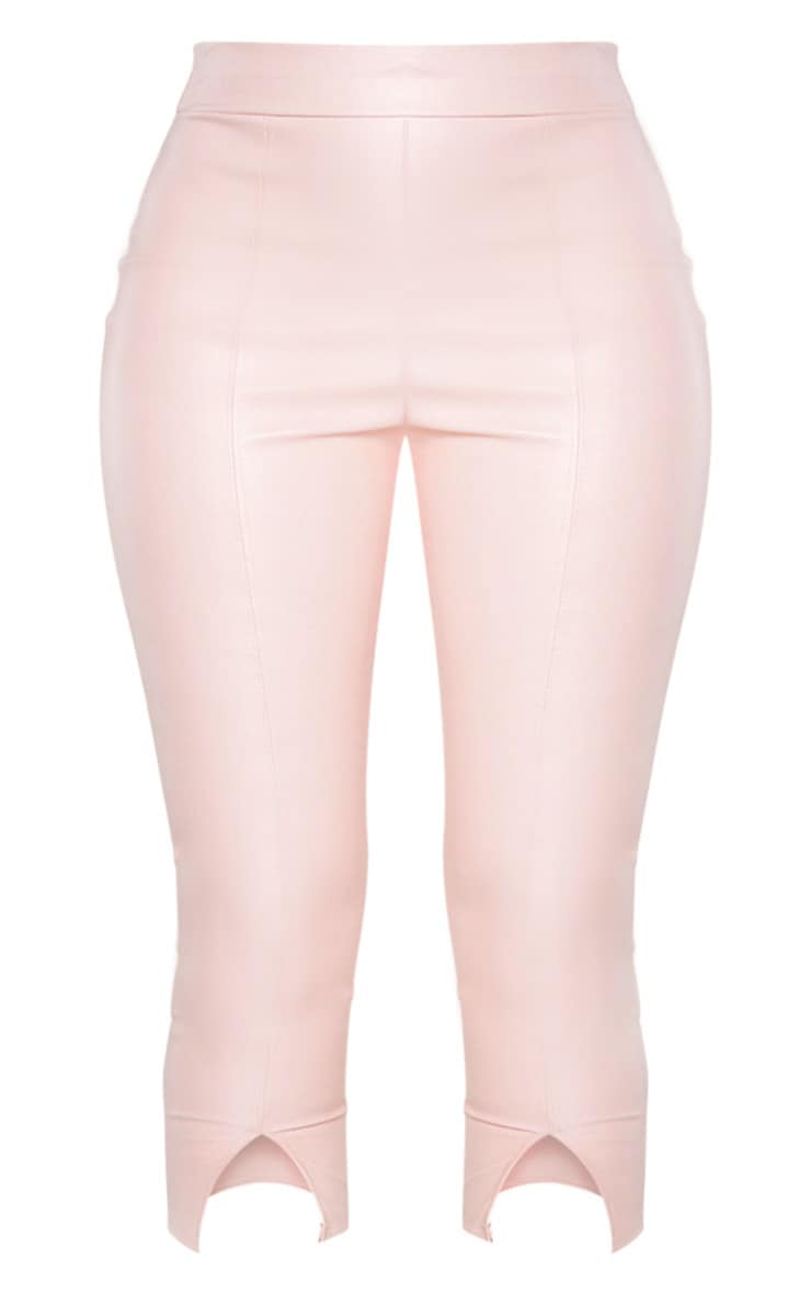 Dusty Pink Faux Leather Split Cropped Trouser 3