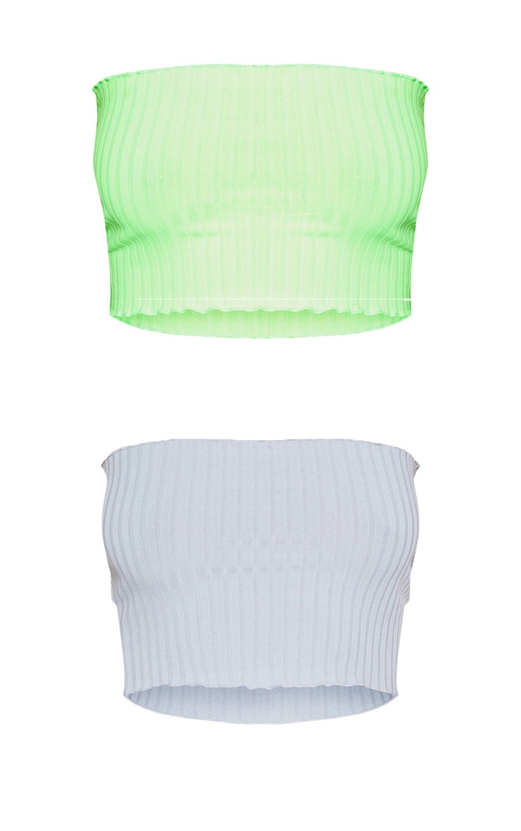 2 Pack Grey & Lime Rib Frill Hem Bandeau Crop Top 3