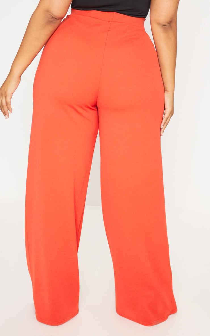 Plus Red Wrap Detail Extreme Wide Leg Trousers 4
