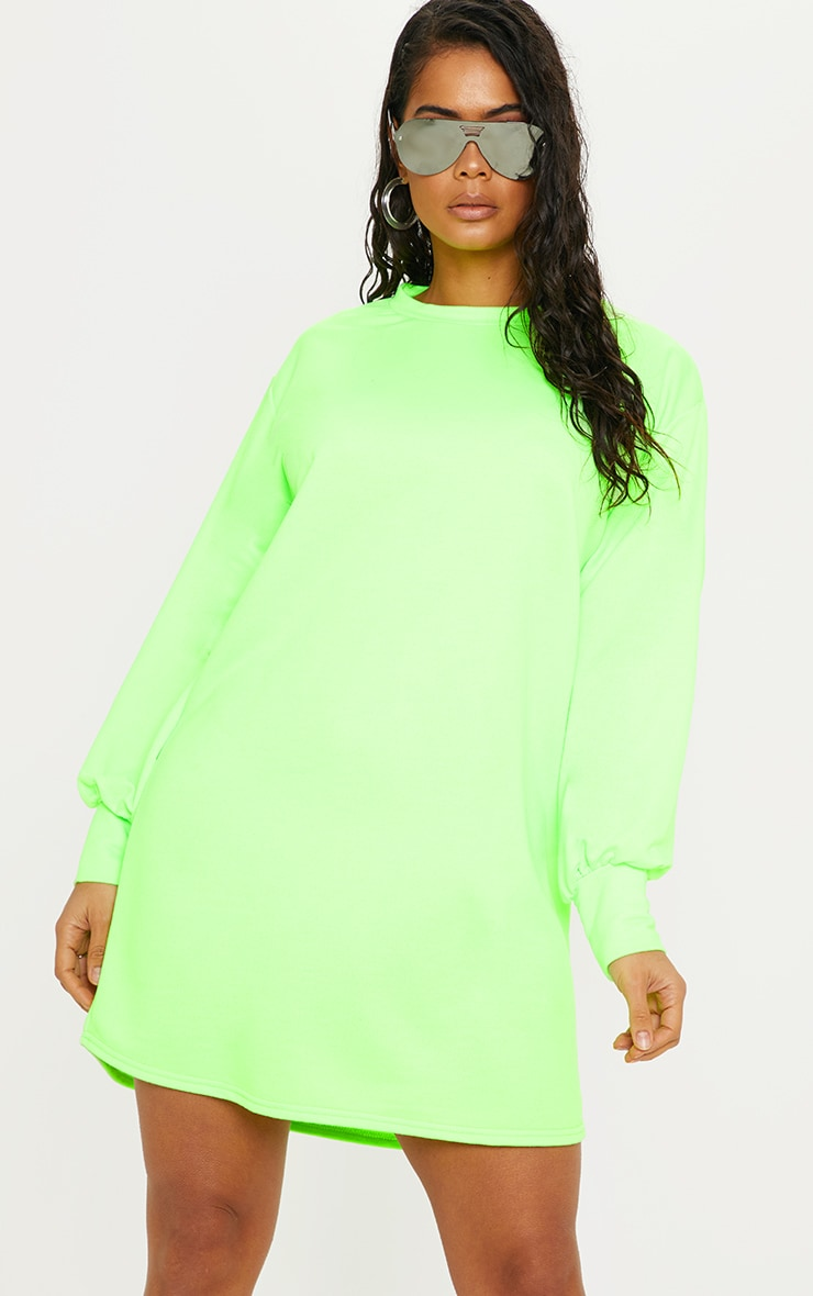 be97d53971 Neon Green Oversized Jumper Dress image 1