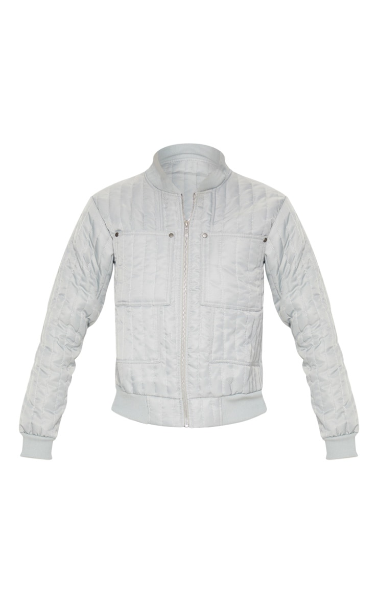 Grey Quilted Zip Through Bomber Jacket 3