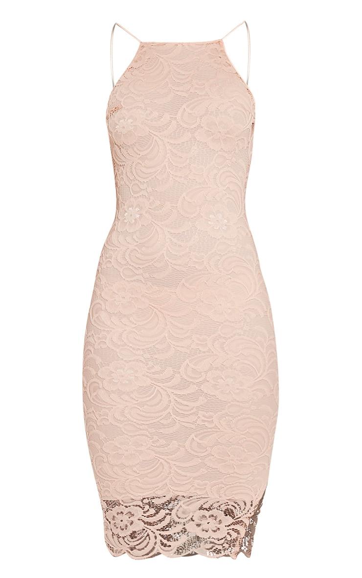 Maddie Nude High Neck Lace Midi Dress 3