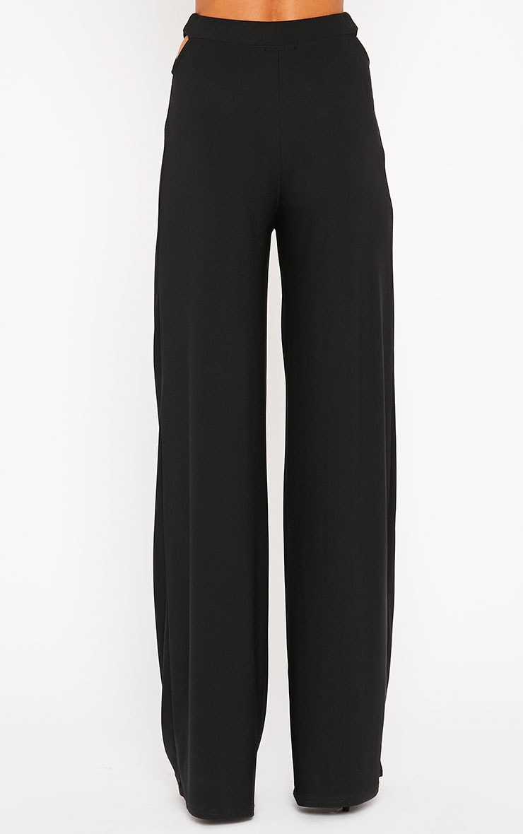 Elphina Black Cut Out Palazzo Trousers 4