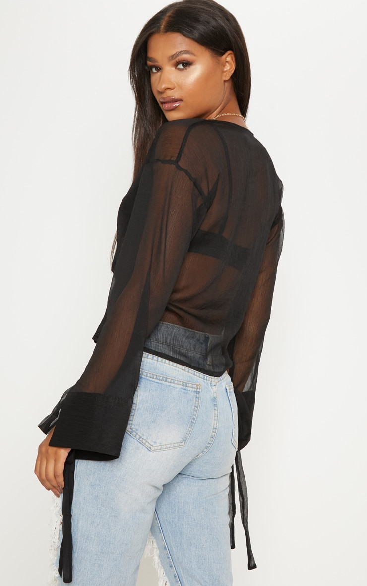 Black Sheer Mesh Wrap Front Blouse 2