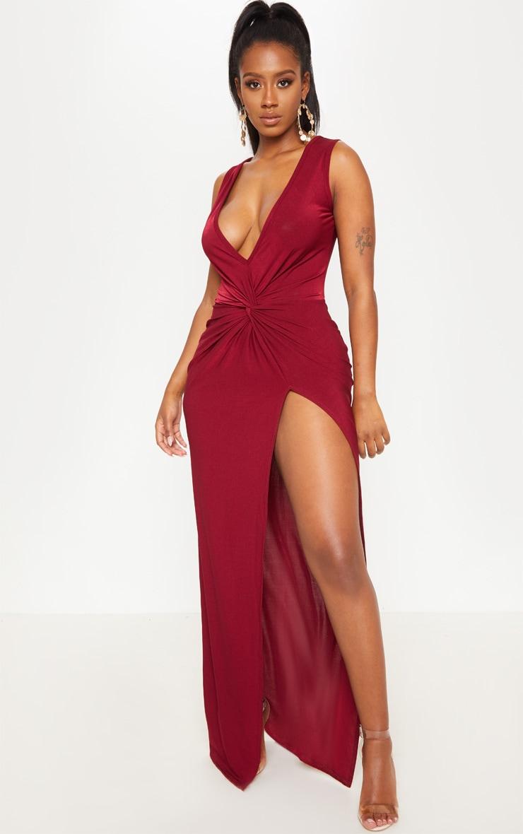 c457fb547a48 Shape Burgundy Slinky Wrap Detail Maxi Dress | PrettyLittleThing USA
