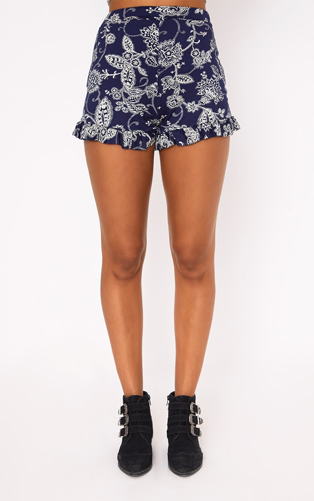 Navy Frill Hem Paisley Print Shorts 2