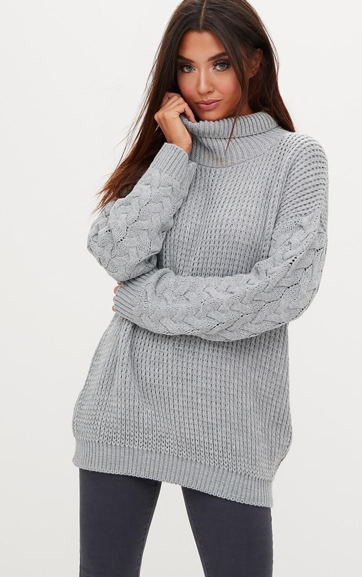 Robe pull grise en tricot torsadé sur les manches. Robes    PrettyLittleThing FR 94eef774b8a3