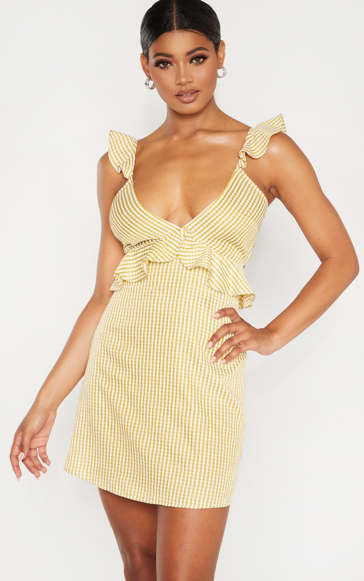 Tall Chartreuse Gingham Frill Detail Tie Back Dress 1