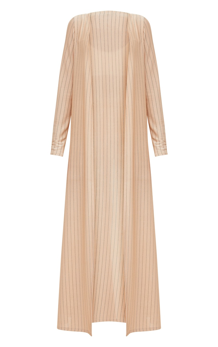 Nude Glitter Stripe Duster Coat  3