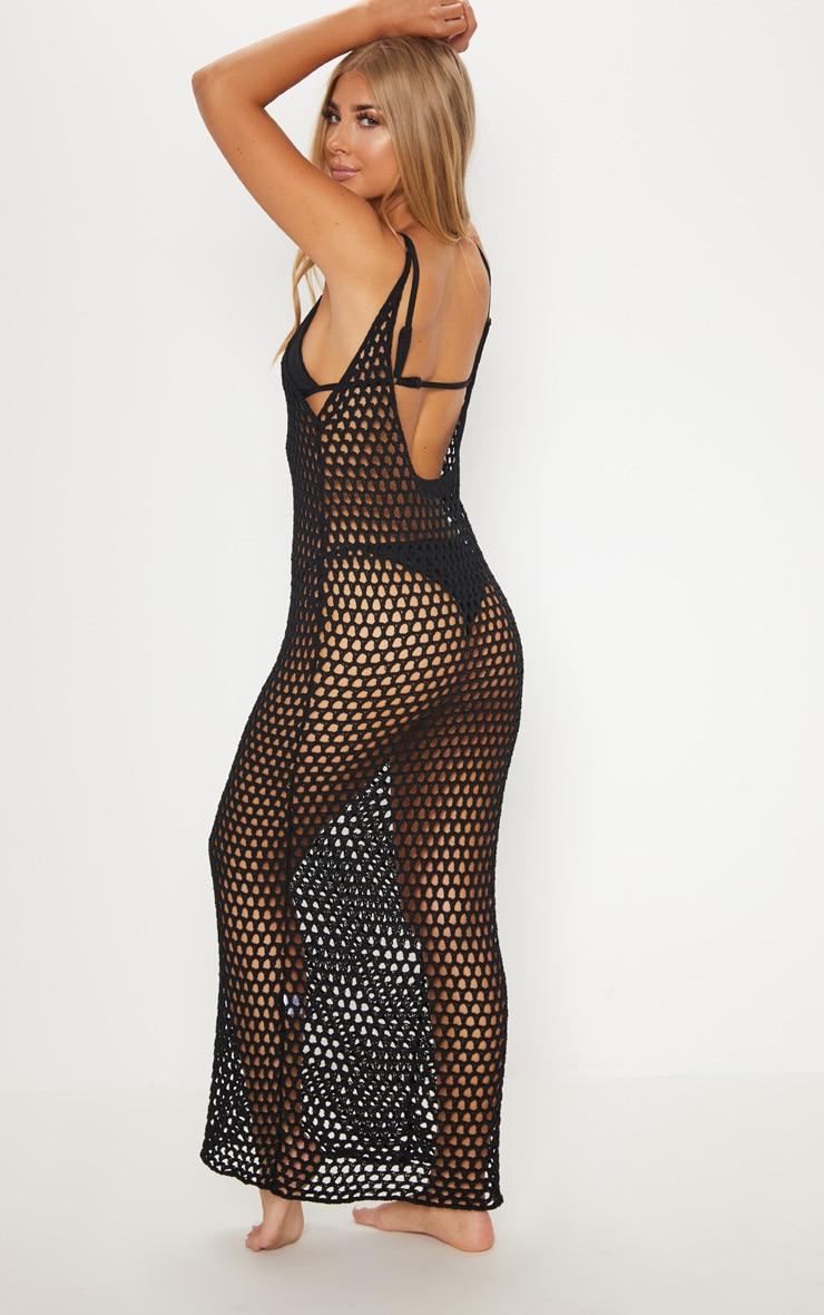 Black Crochet Open Knit Midi Dress 2