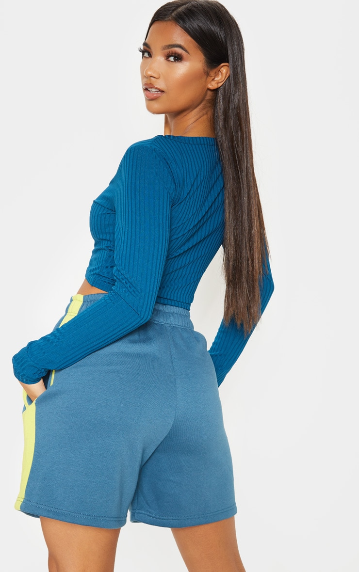 Petrol Blue Rib V Plunge Long Sleeve Crop Top 2