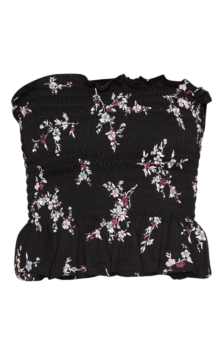 Black Shirred Printed Bandeau Crop Top  3