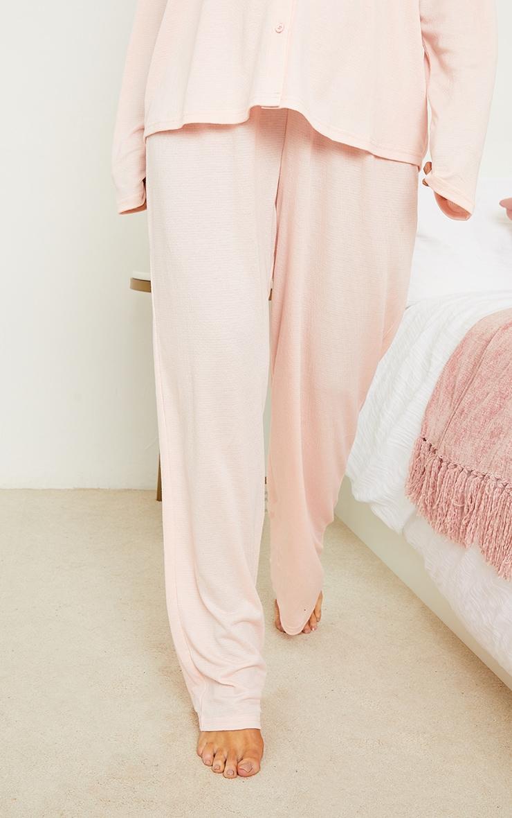 Maternity Pink Crinkle Crepe Tie Detail Wide Leg Lounge Pants 2