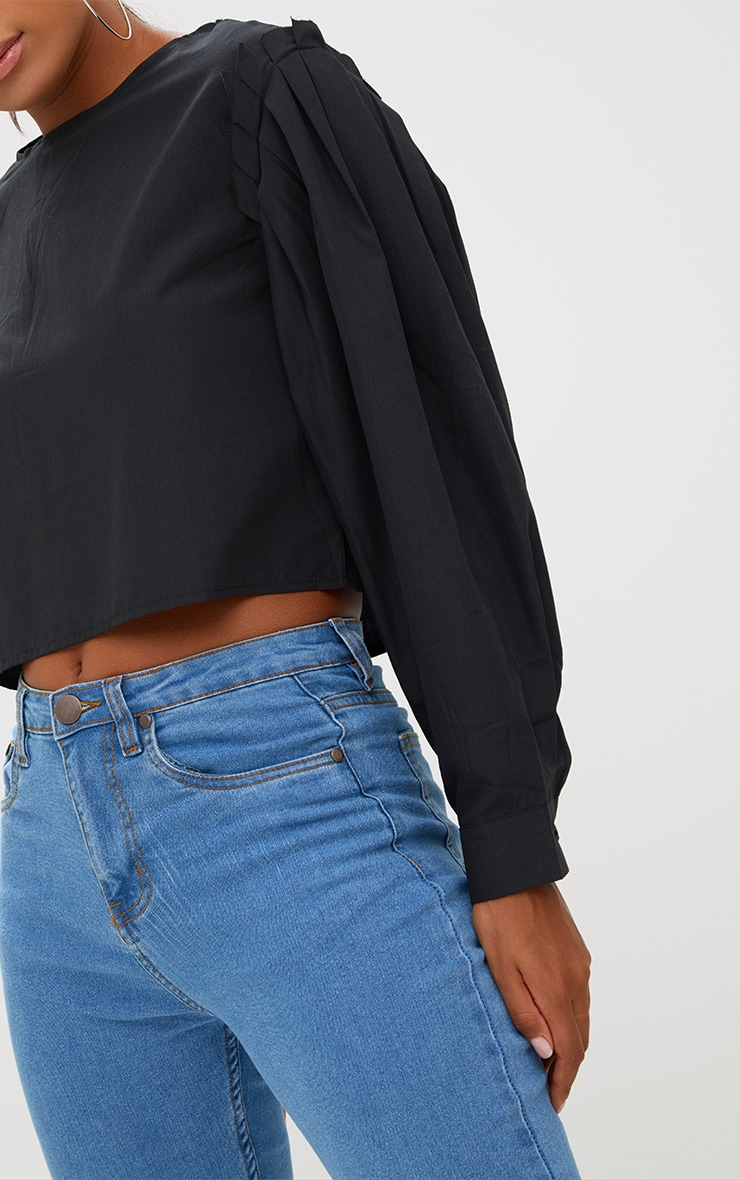 Black Pleated Puff Shoulder Crew Neck Shirt 5