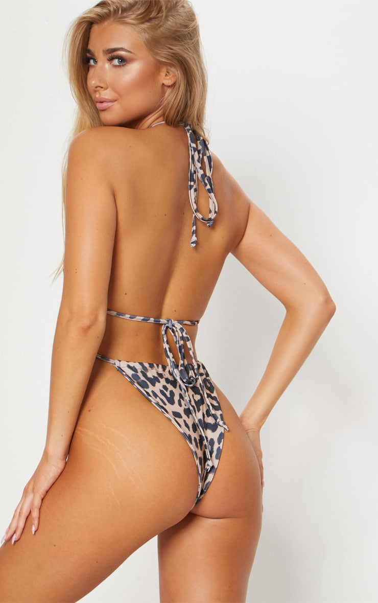Leopard High Neck Tie Front Swimsuit 2