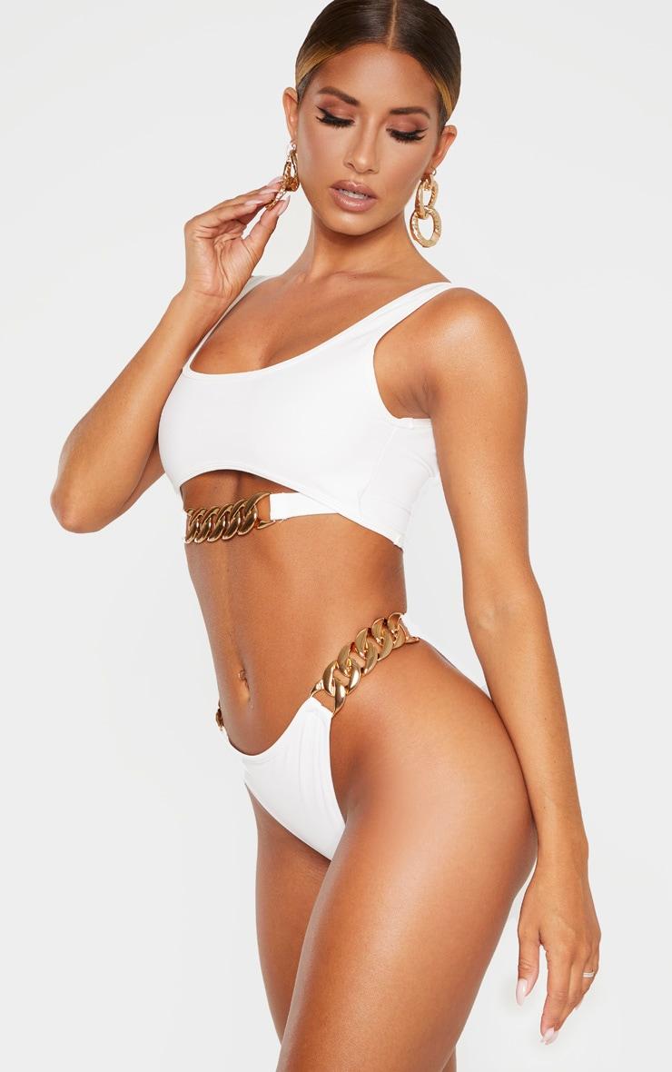 White Chunky Chain Double Strap Bikini Bottom 2