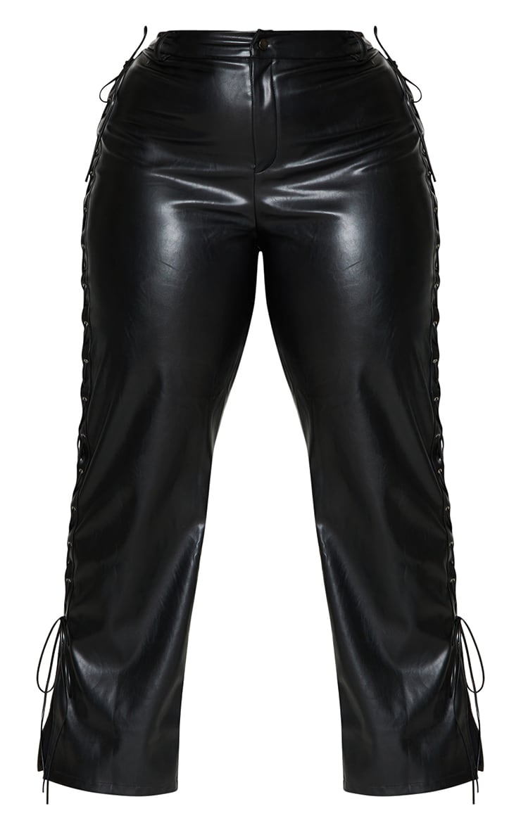 Plus Black PU Lace Up Detail Straight Leg Pants 5
