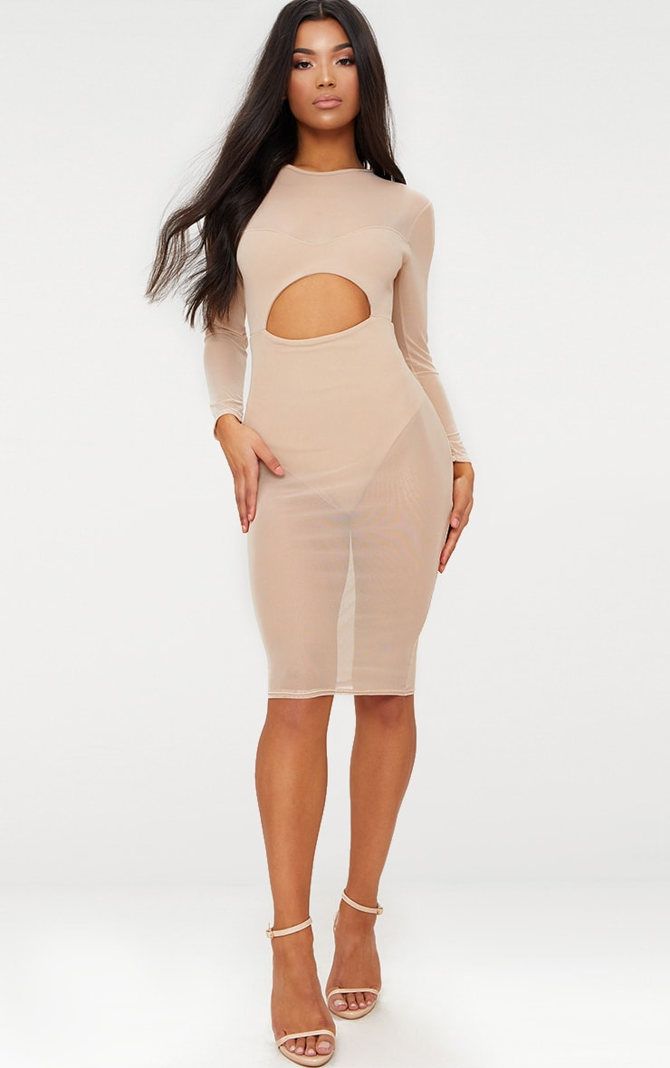 PRETTYLITTLETHING Mesh Top Cut Out Detail Midi Dress Cheap Wide Range Of vT6as