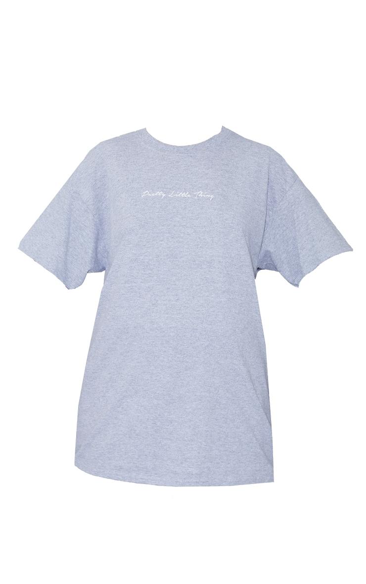 PRETTYLITTLETHING Slogan Grey Oversized T Shirt 5