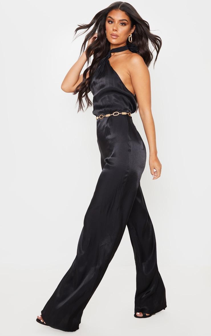 Black Knot Halterneck Shimmer Jumpsuit 3