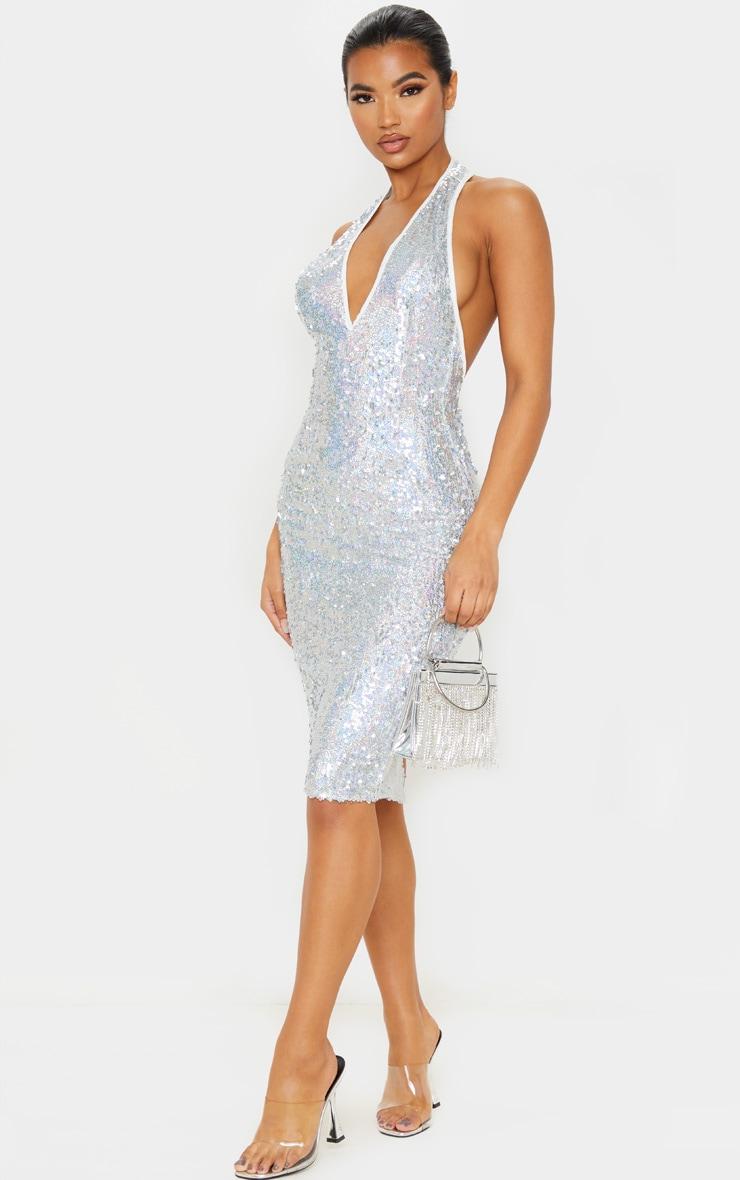 Silver Sequin Midi Dress 1