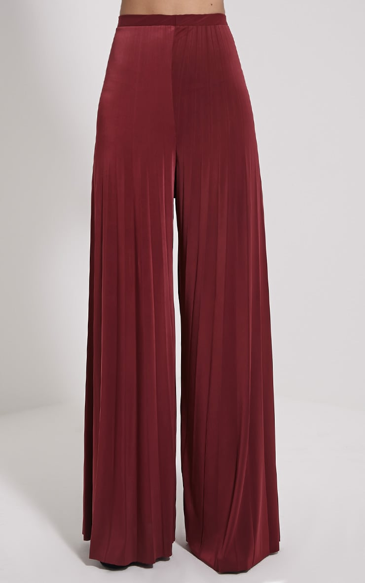 Samantha Oxblood Slinky Pleated Wide Leg Trousers 2