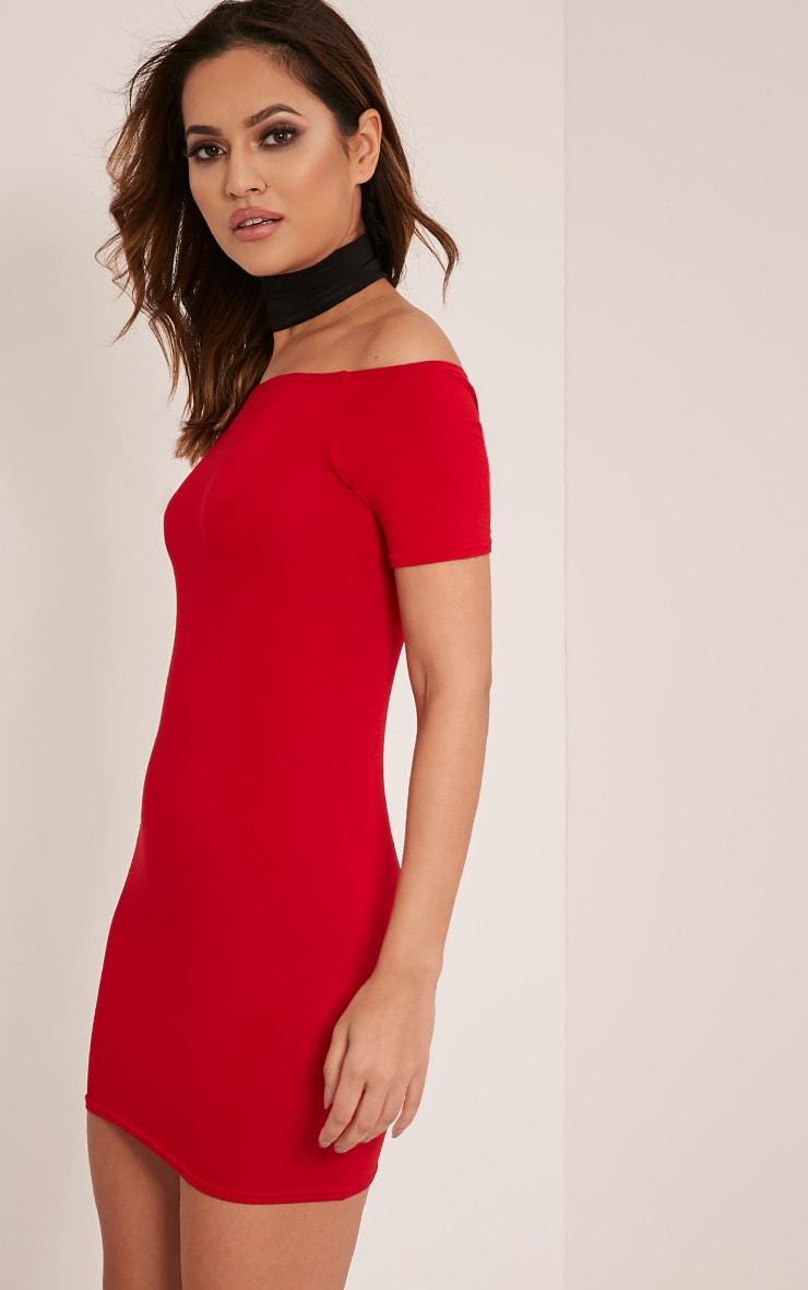 Basic Red Short Sleeve Bardot Bodycon Dress 3