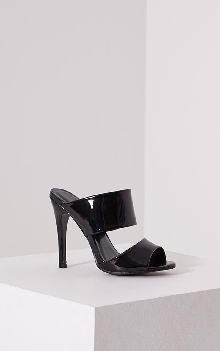 Evageline Black Slip On Mule Sandals 3
