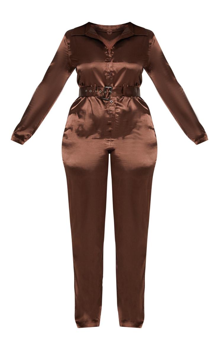 Plus Chocolate Brown Satin Button Front Jumpsuit 3