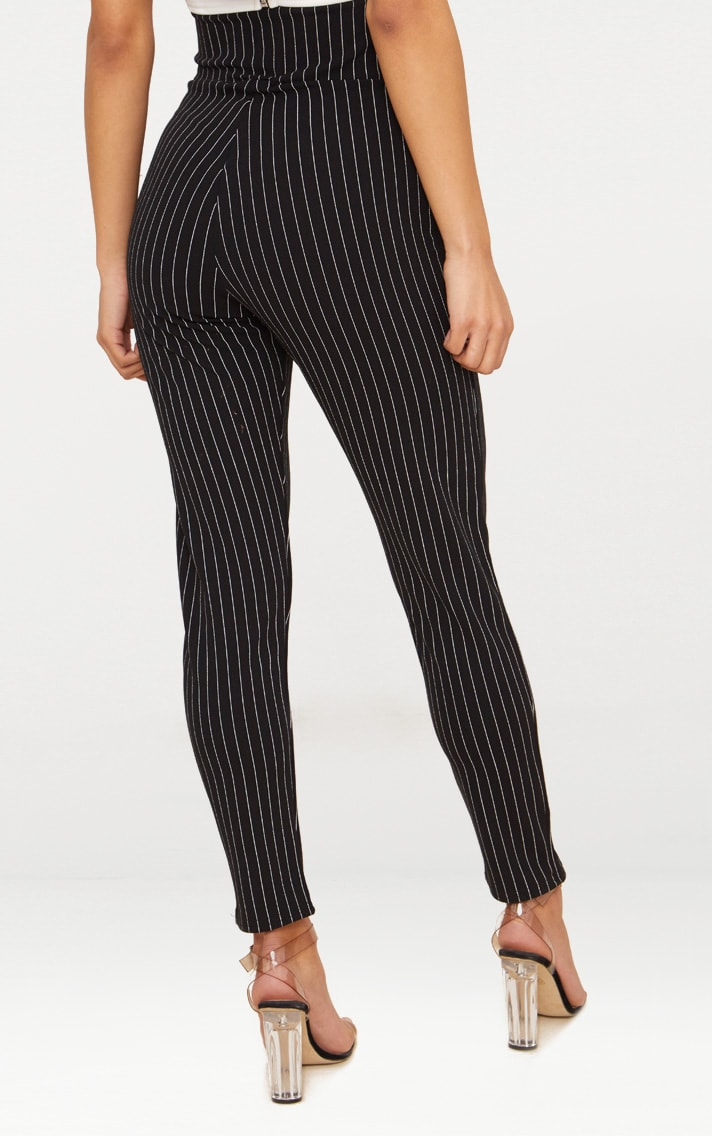 Black Pinstripe Cut Out Waist Skinny Pants  4