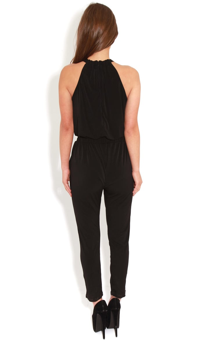 Carly Black Chain Neck Jumpsuit-S 2