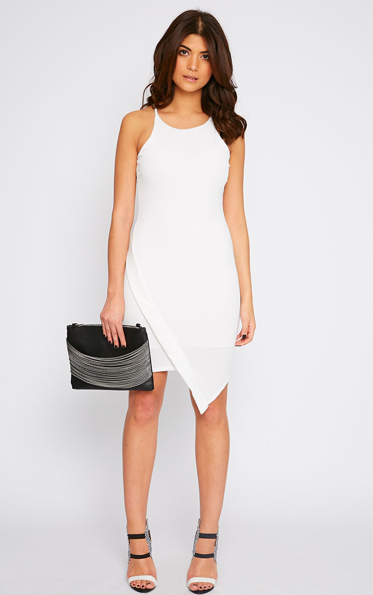 Vanessa Cream Racer Neck Wrap Front Midi Dress 4