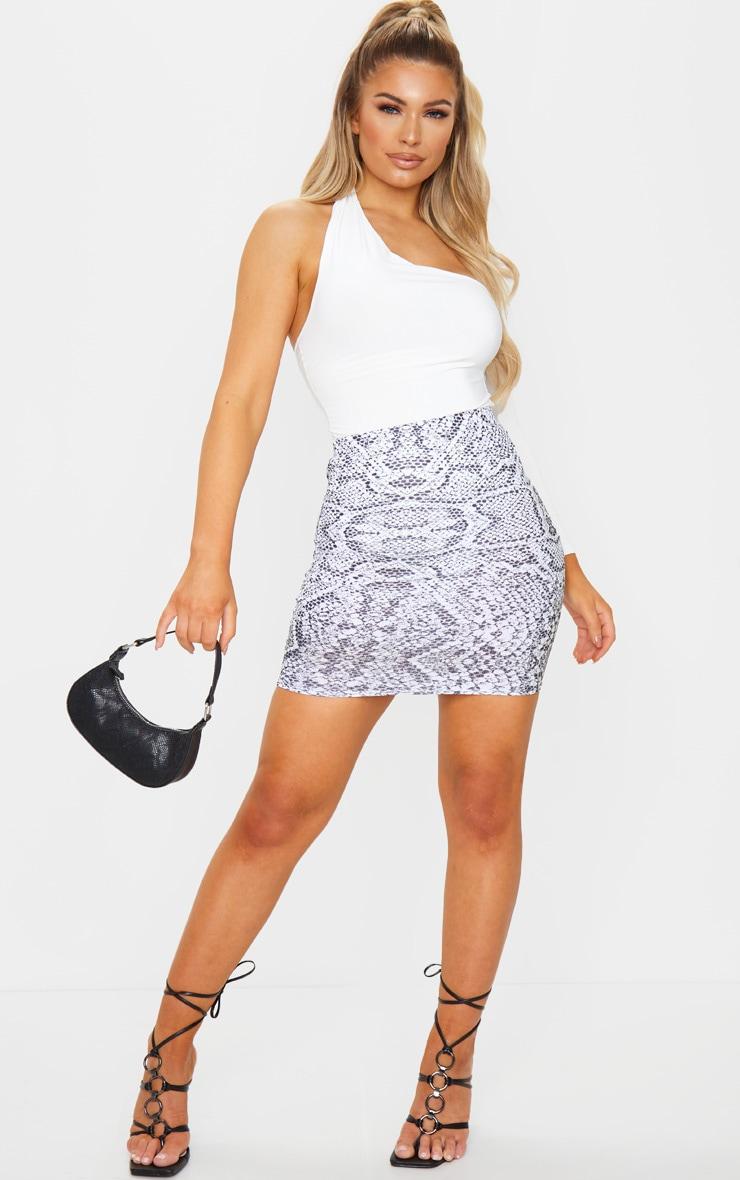 White Snake Print Rib Mini Skirt 4