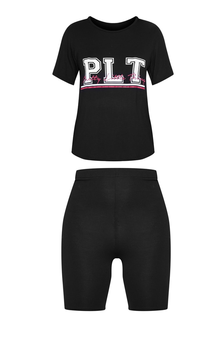 PRETTYLITTLETHING Black Cycling Short And Tee PJ Set 3