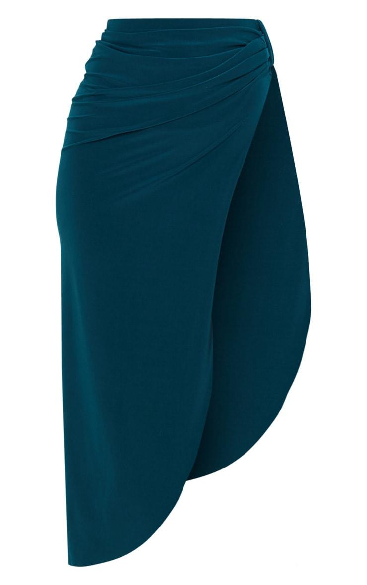 Emerald Green Slinky Knot Detail Curved Hem Midi Skirt 3